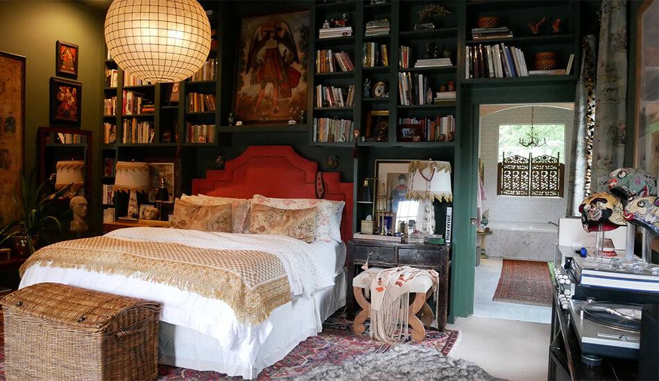 bookshelves in a bedroom