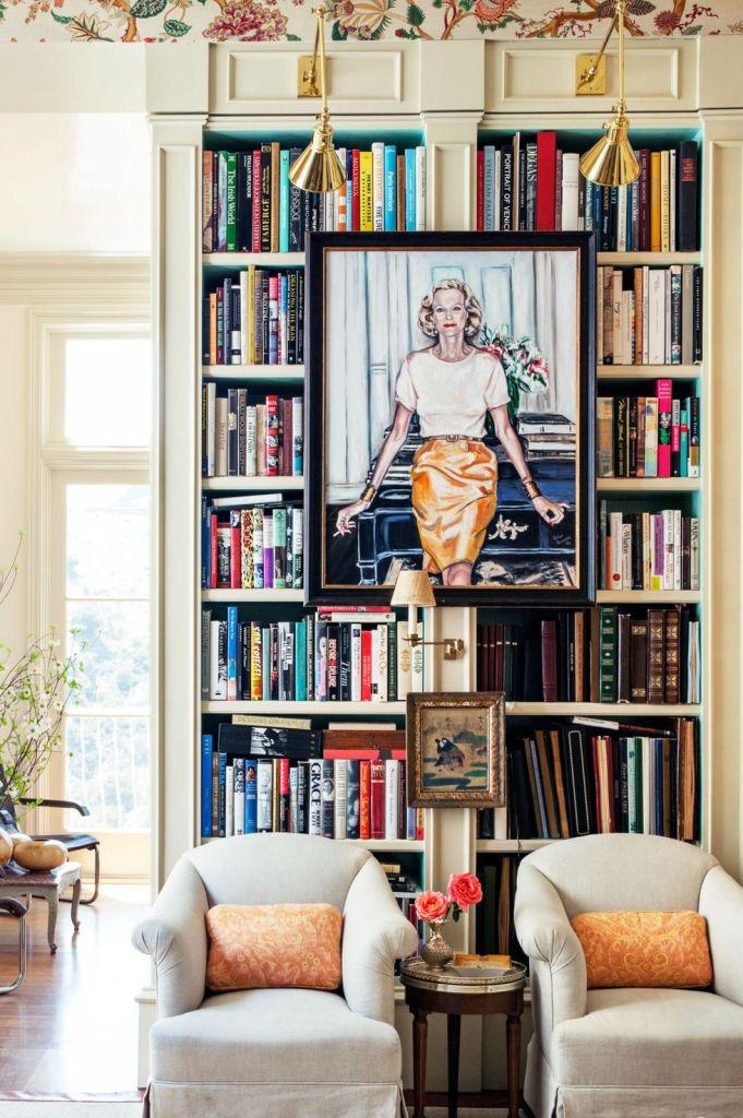 bookshelves colorful