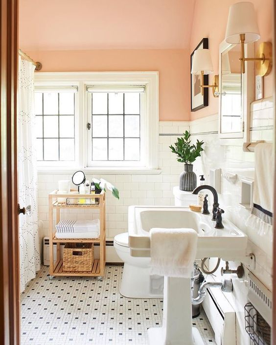 classic bathroom with pink