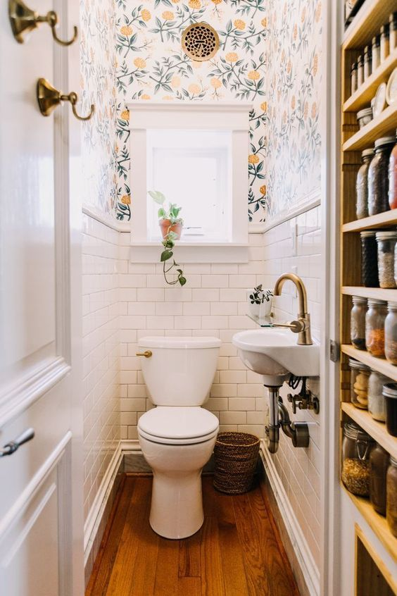 small powder room wallpaper