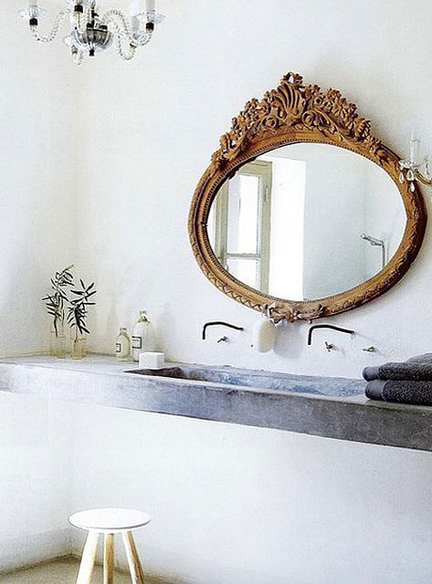 ornate mirror stone sink