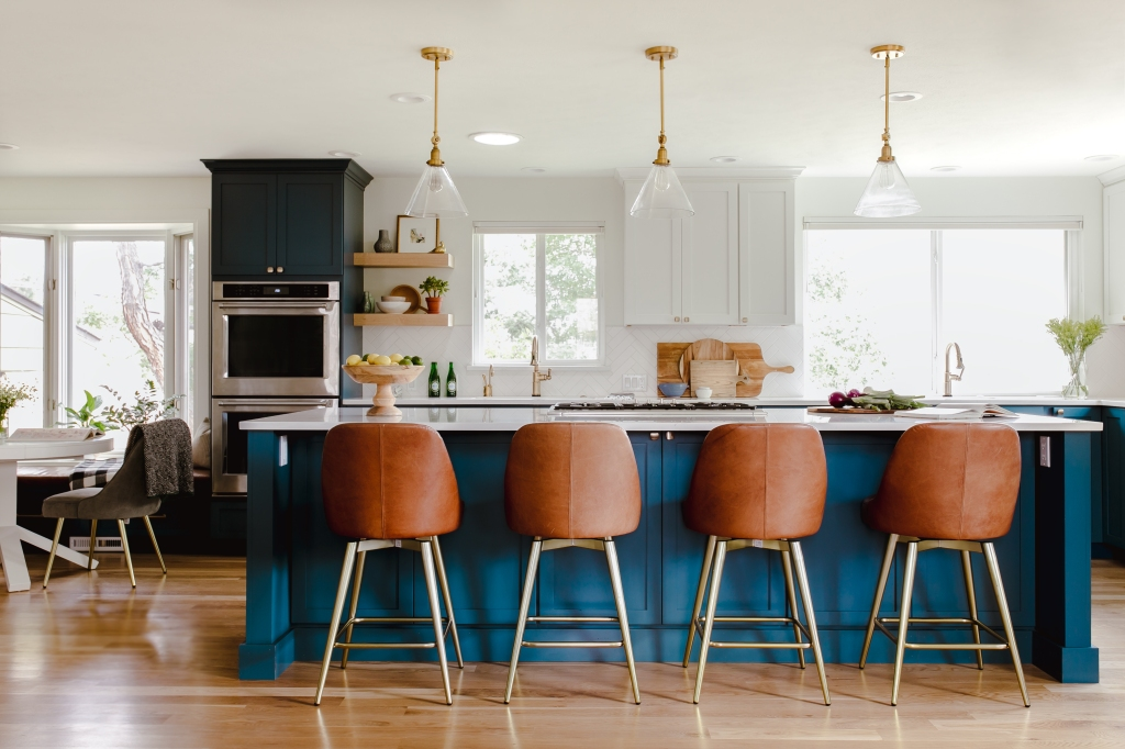 After blue and white kitchen