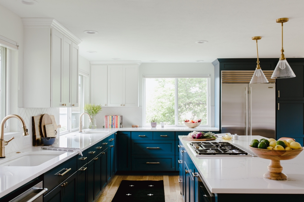 After photo blue and white kitchen